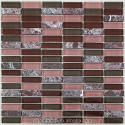 Dark Red Subway Glass and Stone Mosaic Tile for Bathroom, Backsplash