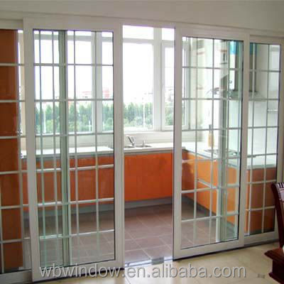 Decorative 4 panl terrace sliding glass door with grill for Terrace design with grills
