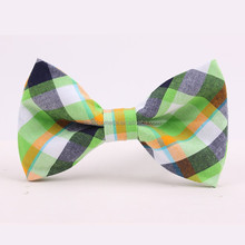 2015 Custom New Design Casual Apple Green And Orange Checked Cotton Bow Tie
