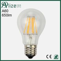 Glass body 360 degree 220V A60 E27 6w dimmable led filament bulb