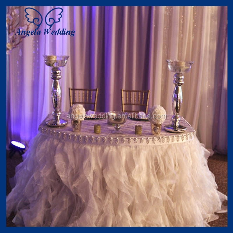 Cl052b fancy new 2015 round ruffled flower fancy wedding for Where can i buy table linens