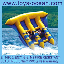 Fly fish water sports games, inflatable fly fish,0.9mm tarpaulin inflatable flying fish/inflatable water boat for sale