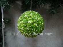2014 beautiful Christmas tree decoration 8CM apple green Foam Ball with acryl&pearl Ornament high decorative manufacturers Gift