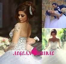 L630-2 Long Sleeves Ball Gown Crystal Bling Brazilian Wedding Dress 2015