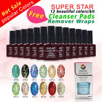 Wholesale oulac superstar beauty choices colored uv gel polish, uv gel soak off nail gel polish kits, free cleanser and remover