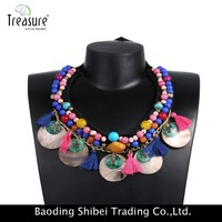 Golden Shell Drop Multicolor Crystal Exaggerated rope chain statement necklaces pendants 2015 brand accessories NL12184