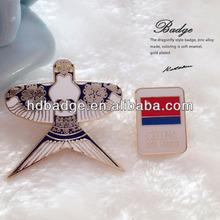 2015hot custom made metal soft enamel pilot wings pin badge,Name badge