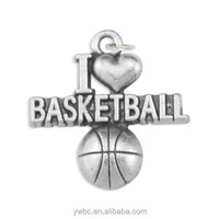 YiWu wholesale zinc alloy antique silver plated i love basketball sport series charm accessory for bracelets