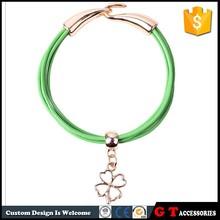 Korea Fashion Vintage Women Lucky Four Leaf Clover Bracelet Leather, Gold Hook Bracelet