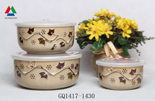 Three size bowl sets ceramic bowl with plastic lid for sale