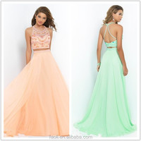 Free Shipping Prom Gown Long Infant Halter Rhinestone Beaded Vestido Infantil Chiffon Two Piece Sexy Prom Dresses 2015