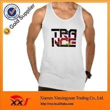 Customized logo slim fit stringer white tank top for men