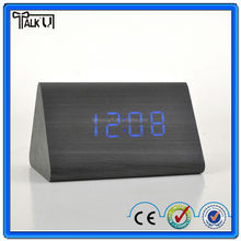 Hot sell 2015 office Led wooden alarm clock/ decorative table digital wooden alarm clock/Led Wooden Clock