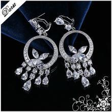 DLY 2015 Dazzling earrings fashion Bohemian Beadwork Chandelier Dangle top design Earring for women S925 retro drop earring