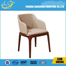 DC013-04-21 luxury wooden base European leather dining chair