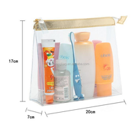 European standard non-toxic PVC clear vinyl travel cosmetic bag with zipper
