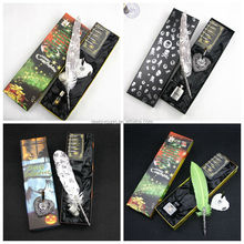 2014 The Best Christmas & Halloween gift for kids, feather dip pen set, custom gift with imprint logo