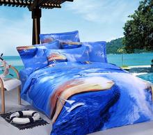 hot sale wholesale 100% cotton fantastic blue sea view surfing printed comfortable 3D bedding set