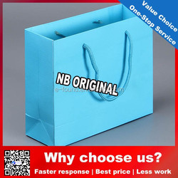 2015 New Luxury Shopping sky blue Paper Bag for Cloth shopping