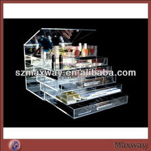 5mm Clear Counter 8 Tier Acrylic Cosmetic Box,Lucite Cosmetic Stand Holder,Perspex Makeup Stand Box