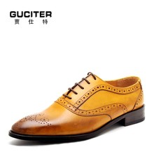 Handmade shoes genuine leather male business formal imported leather outsole material men's shoes goodyear shoes