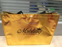 Cheap promotional waterproof pp non woven shopping laminated folding gold tote bag