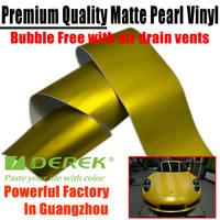 Derek New Gold Matte Metallic Car Wraps Vinyl With Air Free Bubbles 1.52*20m --Manufactory Directly