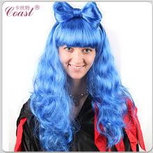 lady gaga dark blue fake curly hair wigs with bow