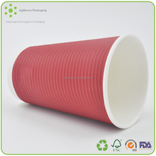 2015 Red Ripple Kraft Paper Cup for Coffee Biodegradable Recycle Ripple Paper Coffee Cups Wholesale