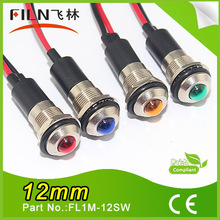 Filn metal screw 12mm 12v 24v 36v led light bulbs red green with cable leading