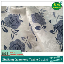 Blue flowers printed 100% polyester tricot mattress cover fabric