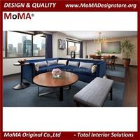 (MA48NH) European Style Marine Blue Sectional Sofa Set/Hot Sale Hotel Sofas/Hotel Living Room Furniture