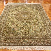 Moden and luxury design chinese cheap 6x9ft yellow wool handmade carpet