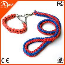 Large Size Dog Nylon Collar, Braided Rope Dog Collar with Leash set