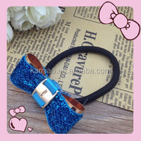 2014 fancy hair bow girls elastic hair band make ponytail holder