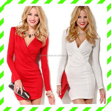 Alibaba guangzhou OEM red white v neck long sleeve woman dress for women fashion sexy cocktail dress