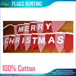 Red Pin Dot Gingham Combo Merry Christmas Bunting