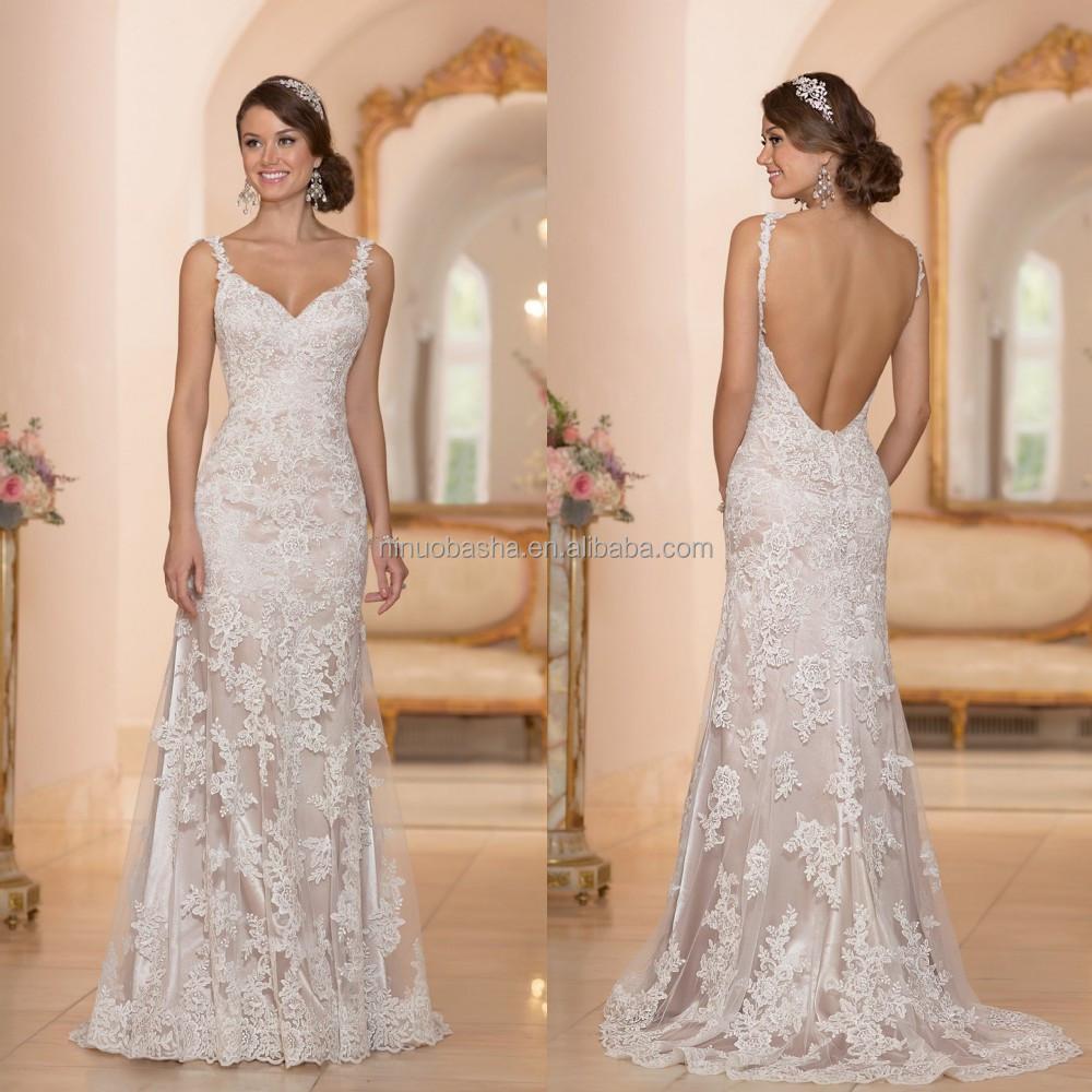 2015 sexy sheath wedding dress spaghetti straps v neckline backless backless lace bridal gown wholesale suzhou china online store nb1006 nb1006g junglespirit Choice Image