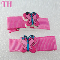 wholesale hair accessories manufacturers china resin butterfly shape fabric hair barrette for adult