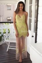 bandage dress lace see through long yellow sex prom dress