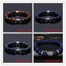 Men's Beaded Buddha Bracelets,Men's Black Lava Rock Skull Bracelet