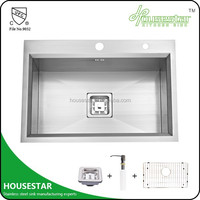 HOUSESTAR cUpc deep single bowl kitchen handmade sink stainless steel bathroom sink with stand - L- 6343