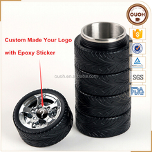 Europe Standard Stainless Steel Auto Tire Shaped Travel Coffee Cups and Mugs