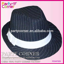 20s Gangster Black Stripe Hat With White Band