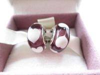Murano Glass Beads Authentic Sterling Silver S925 White Hearts Murano Glass Bead