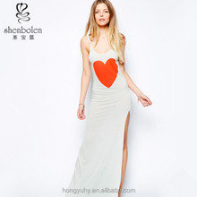 M40798 Bulk wholesale maxi dresses scoop neck casual solid color straped with red heart printed