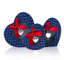 Hot sale high quality popular fashion blue heart shaped handmade gift box set