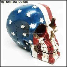 2015 hot sale custom made plastic Skull with American Flag Patriot Skeleton Figurine Halloween Party Decoration