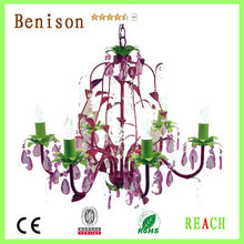 BENISON 6-Armed High Quality Purple Glorious multi color crystal Chandelier for Home Decor