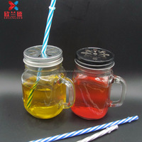 15oz glass mason jar mug with straw and handle and daisy cut cap